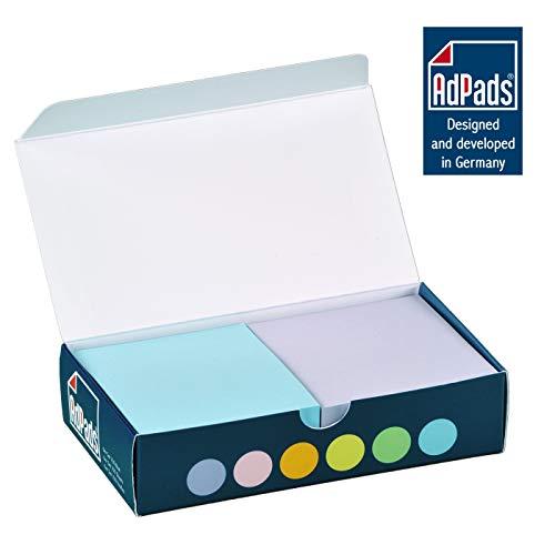 AdPads® selbstklebende Haftnotizzettel | 75 x 70mm, 6 Blöcke à 100 Blatt, Set Bunt Pastellfarbe | Kleine Sticky Notes Box
