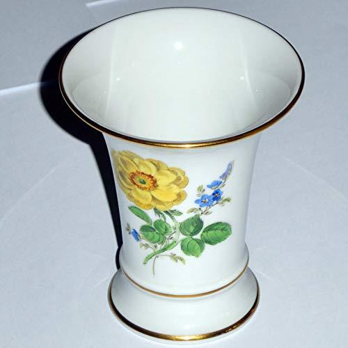 Meißner Porzellan Original Blumenvase - Trichterform - Vase Meissen - Blumen vorn und hinten - Höhe 9,80 cm - 3,85 Zoll - Durchmesser Ø 8,4 cm - 3,3 Zoll - 1. Wahl