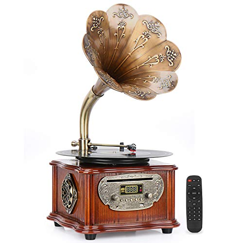 Phonograph Vintage Turntables with Wireless Speakers, Record Player, CD Player/3.5mm Aux-in/FM Radio/USB,Wood Gramophone with Copper Hornfor Office/HomeDecor