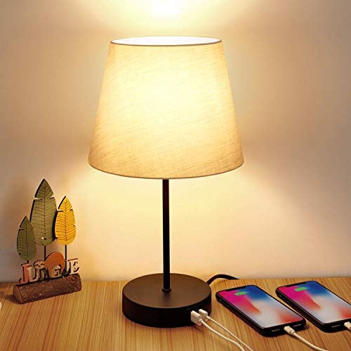 Touch Control Table Lamp, 3 Way Dimmable Nightstand Lamps with 2 USB Charging Ports, Fabric Shade Modern Bedside Desk Lamp for Bedroom Living Room, 6W 2700K E26 LED Edison Bulbs Included