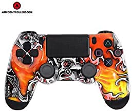PS4 DualShock 4 Custom Wireless Controller- AiMControllers Lucky6 Design with 4 Paddles. Upper Left Square, Lower Left X, Upper Right Triangle, Lower Right O