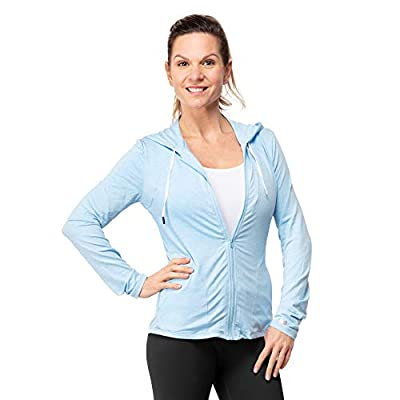 Women's Full Zip Stretch Hoodie - Spandex Activewear with UPF 50 UV Sun Protection - Lighweight Hooded Sweatshirt for The Gym, Yoga and Outdoors Blue