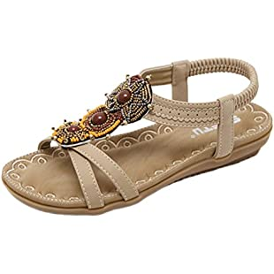 Luoluoluo Ladies Sandals,Women's Bohemian National Wind Foreign Trade Sandals Big Code Beaded Shoes Beach Shoe (40, Brown)