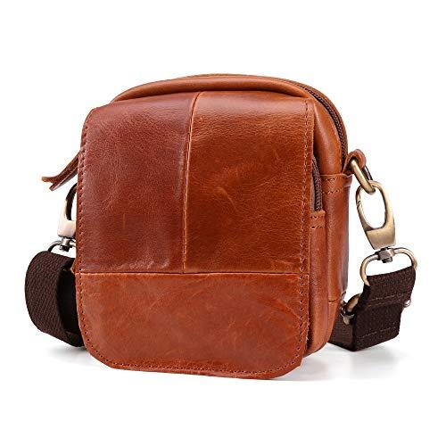Zzyff Retro Leather Men's Pockets Outdoor Leisure Belt 5 Inch Mobile Phone Bag Shoulder Bag Messenger Bag (Color : Beige)