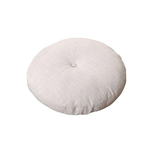 Zhi Jin Sitzkissen, dick, rund, Bodenpolster, bequem, Baumwolle-Leinen, Stuhlkissen, für zuhause, Sofa, dekorativ, 1 Stück Linen White