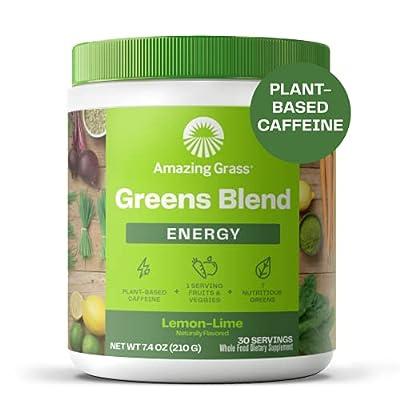 Amazing Grass Green Superfood Energy: Super Greens Powder & Plant Based Caffeine with Matcha Green Tea, Lemon Lime, 30 Servings