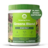 Amazing Grass Greens Blend Energy: Super Greens Powder & Plant Based Caffeine with Matcha Green Tea & Beet Root Powder, Lemon Lime, 30 Servings (Packaging May Vary)