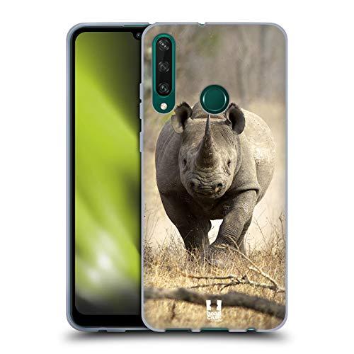Head Case Designs Rinoceronte Negro Corriendo La Fauna Carcasa de Gel de Silicona Compatible con Huawei Y6p
