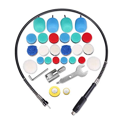 SPTA Mini Detail Polisher Shaft, Car Foam Drill Polishing Pad Kit with 5/8' Thread, Used on Rotary Tools/Polisher, Electric Drill for Metal Aluminum, Stainless Steel, Chrome