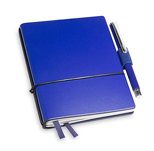 A7 revolutionäres X17-Notizbuch! Recyceltes Leder blau, mit Geschenkbox; Innen: 2x Notizen(blanko, kariert), Stifthalter, Doppeltasche, Mini Stift; austauschbar,17 Jahre Garantie*