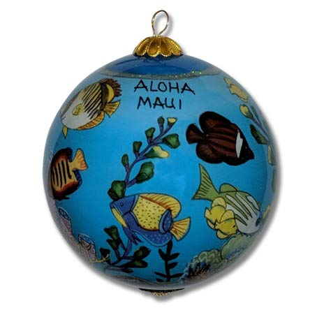 Collectible Maui Ornament Handpainted Glass Tropical Fish with Gift Box (TFP/M)