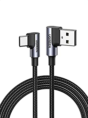 UGREEN USB C 90 Degree Cable 3A Right Angle Type C Quick Charge Lead Fast Charge Cord Compatible with Galaxy S20 Note 20 Note10 S10 S9 A51,Xiaomi Poco X3,Moto G8 G7,Nokia 7.1,Google Pixel 4a (1M)