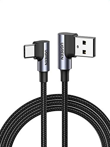UGREEN Cavo USB C 90 Gradi Cavo Type C Ricarica Rapida 3A Tipo C in Nylon Compatibile con Galaxy A70 A60 S21 S20 S10 S9 Huawei P20 Lite P40 Mate 20 P9 Xiaomi Redmi Note 7 Mi 9 Mi 8 A2 ECC. (1m)