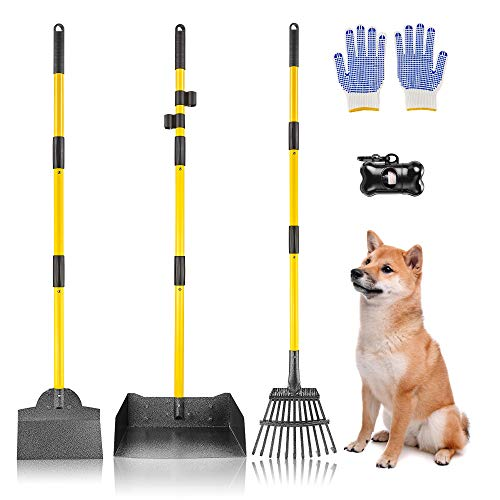 Akcmpet Dog Pooper Scooper, Upgraded Poop Scooper for Large and Small Dogs, Metal Pet Poop Tray,...