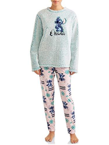 Disney Damen lilo und stitch ohana plüsch fleece 2 stück pyjama schlaf-set, mittel türkis