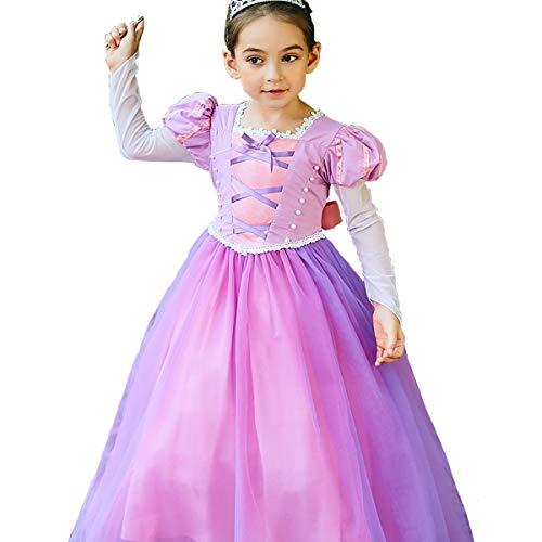 Le bambine Rapunzel Dress Up Costume maniche lunghe maglia maniche abiti da ragazza principessa Cosplay Halloween Birthday Party Fancy Outfit (130 centimetri)