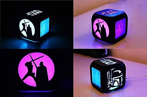 LEYOUDIAN Star Wars 3D Stereo Réveil Muet LED Night Light Mode Couleur Creative Seven Electronic Alarm Clock - Chargement USB
