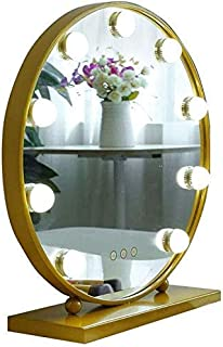 Daily Necessities Vanity Mirror with LED Lights Kit for Makeup Dressing Table Hollywood Style Makeup Mirror LED Lights with 10 Dimmable Light Bulbs (Gold) (Size : Diameter 50cm)