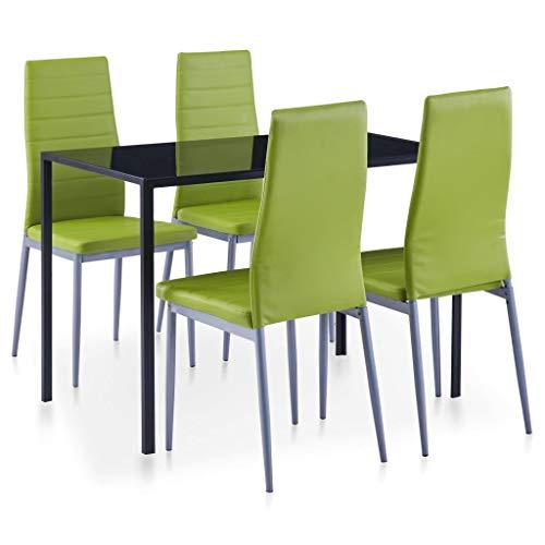 vidaXL Conjunto de Mesa y Sillas de Comedor 5 Piezas Hogar Casa Muebles Mobiliario Decoración Descanso Diseño Estilo Confort Verde