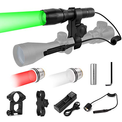 BIZOOM KL75 Hunting Light Kit with Green Red White Interchangeable LED Modules, Zoomable Predator Light with Remote Switch Rail Mount&Scope Mount for Hog Coyote Bobcat Varmint Hunting