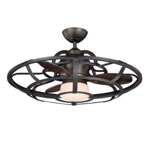 Savoy House 26-9536-FD-196 Downrod Mount, 3 Chestnut Blades Ceiling fan with 37 watts light, Reclaimed Wood