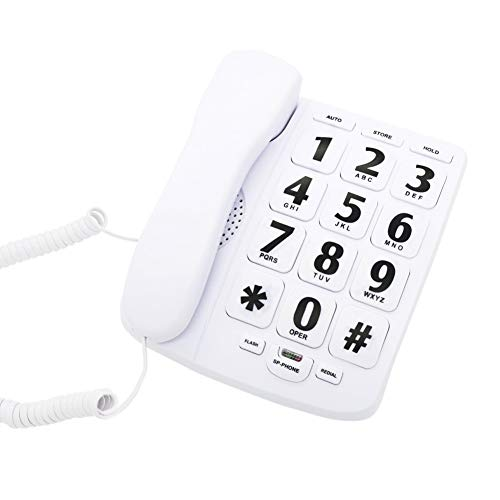 KerLiTar Big Button Corded Phone for Elderly, Amplified Speakerphone for Seniors, Home Landline Telephone Wall Mountable with Speed Dial Memory/Ringer Off Function