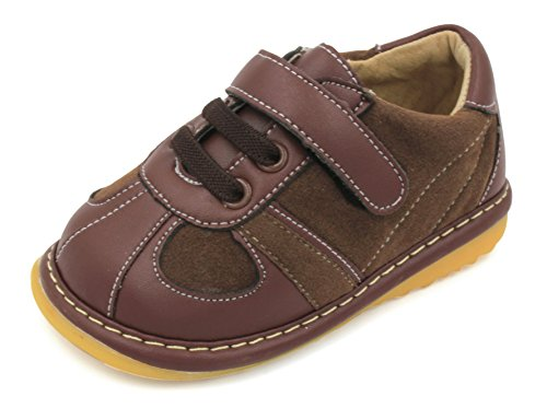 Little Mae's Boutique Brown Suede Toddler Boy Squeaky Shoes (4)