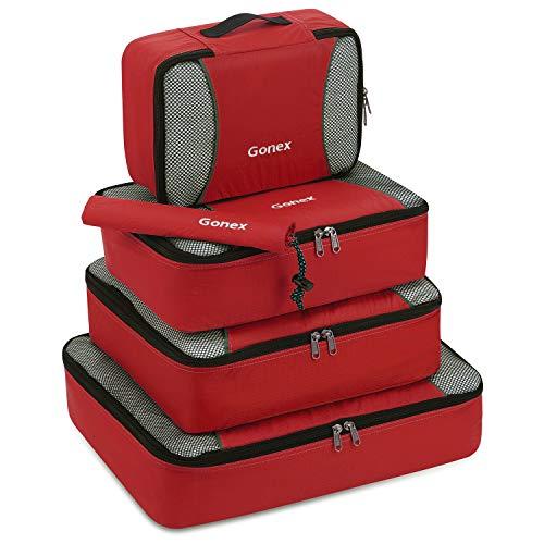 Gonex Kleidertaschen-Set, 5-teilig, je 1 Beutel, kleine, mittelgroße, große und größere Packtasche, rot