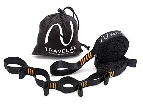 Travelax Sujeción para Colgar Hamaca Extra Fuerte, Cada cinturón soporta de 500 Kilos, Set de suspensión Ajustable para Hamaca con 44 pasadores, Soporte para Hamaca Negro Naranja