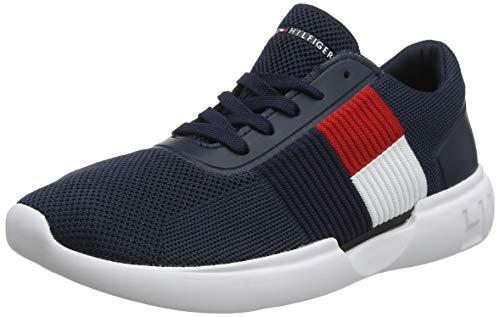Tommy Hilfiger Herren Lightweight Runner Flag Knit Sneaker, Blau (Midnight 403), 43 EU