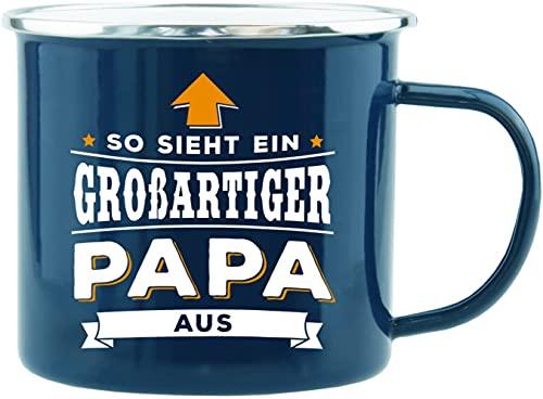 History & Heraldry Echter Kerl - Emaille Becher Großartiger Papa - individuelle Tasse mit Name und Spruch