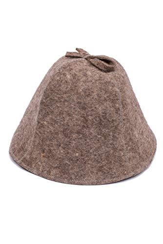 Ger3as Saunahut 100% Wollfilz mit Haken für Damen und Herren, Wellness Mütze Premium Qualität Filz Saunamütze (Dunkler Filz Haken)