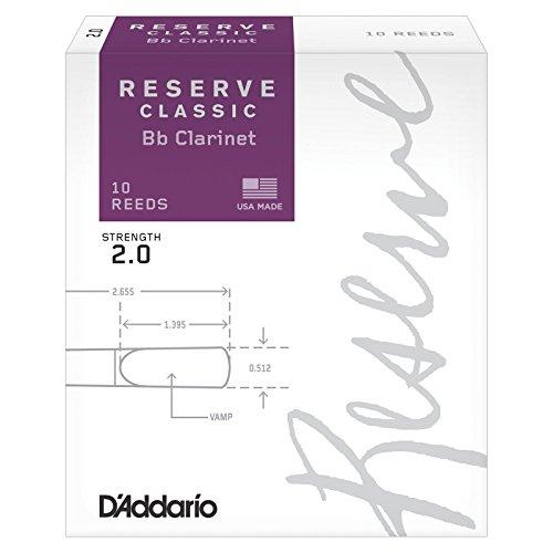Cañas para Clarinete D'Addario Reserve Classic Bb, Dureza 2.0, 10-pack