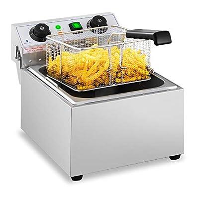 Royal Catering Friteuse Électrique De Restaurant Simple Avec Robinet Minuterie Professionnelle RCTF 10EB (1 Cuve De 10 L, Zone Froide, Thermostat)