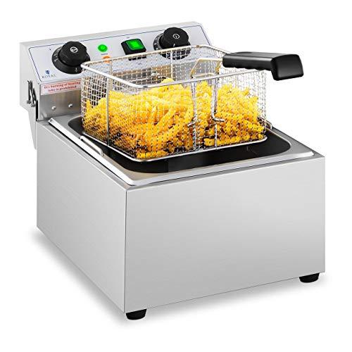 Royal Catering Elektro-Fritteuse Edelstahl RCTF 10EB (3.200 W, Kapazität: 10 l, Temperaturbereich: 50-200 °C, Kaltzone, mit Timer bis 60 Min.)
