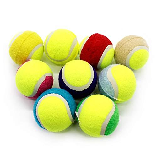 Yunso 16pcs Haustiere Training Ball Spielzeug,Gummi Quietschende Tennisbälle Spielzeug Für Hunde, Farbe Zufällig