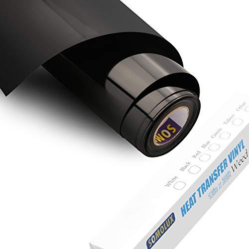 SOMOLUX HTV Iron on Vinyl 12inch x 25feet Roll Easy to Cut & Weed Iron on Heat Transfer Vinyl DIY Heat Press Design for T-Shirts Glossy Black