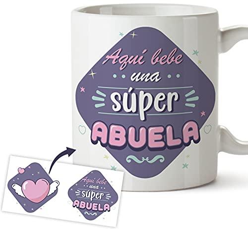 Taza Abuela - Regalo original taza desayuno - Aquí bebe una súper abuela, Día de la madre (Abuela)