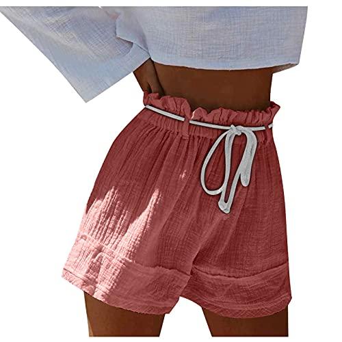 YANFANG Pantalones Cortos Color SóLido Mujer,Pantalones Sueltos con Bolsillo De Cintura EláStica Casual CordóN CóModo para Mujer Talla Grande,Pantalones Baloncesto Hombre,Red,L