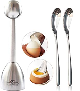 NobleEgg Egg Topper Opener Cracker | Easily Cut and Remove the Top of Soft-Boiled Eggs | Includes 2 egg spoons