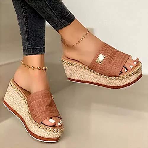 EVR Sandalias de Cuña para Mujer Verano 2020, Sandalias de Punta Descubierta Zapatillas de Plataformas Ante Cómodo Zapato de Playa Moda Mules,Marrón,36