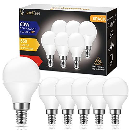 Bombillas LED P45 E14, JandCase E14 Bombilla de pelota de golf, 6W equivalente a 60W, 550 lúmenes, Color blanco frío 6000K, No regulable, Bombilla de luz de tornillo Edison, Pack de 6 Unidades.