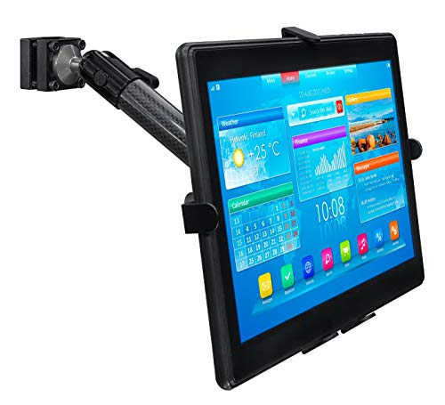 Mount-It! Premium Car Headrest Tablet Holder with Adjustable Arm | Heavy Duty Carbon Fiber Car Tablet Mount for iPad 7, Galaxy Tab, Fire Tablets (MI-7311)
