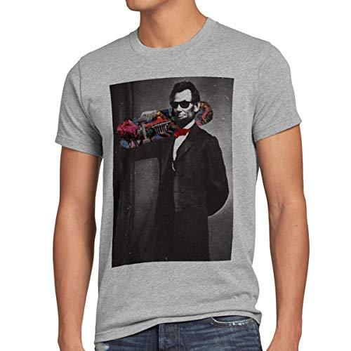 style3 Skater Abe T-Shirt Herren Abraham Lincoln, Farbe:Grau meliert, Größe:4XL