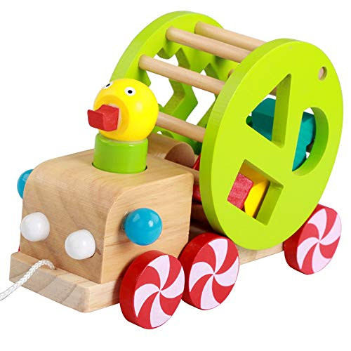 Fantastic Deal! HOMESROP Wooden Duck Toddler Pull Cart