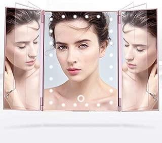 【母の日ギフト】化粧鏡 卓上ミラー三面鏡 LED付き折りたたみ式 明るさ調整可能 ローズゴールド