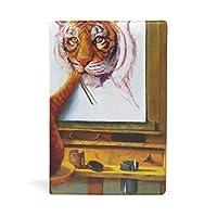 ブックカバー 文庫 a5 皮革 レザー 面白い猫 絵を描く 虎 文庫本カバー ファイル 資料 収納入れ オフィス用品 読書 雑貨 プレゼント