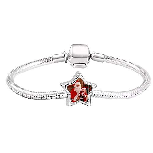 Pulsera con foto personalizada Pulsera con colgante de estrella Pulsera de plata Pulsera de señora Navidad para mujer(Plata a todo color 7.5IN=19cm )
