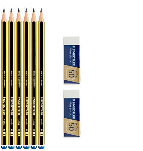 Staedtler Noris 120 H – Lot de 6 crayons en graffiti + 2 gommes à effacer Mars plastic Staedtler