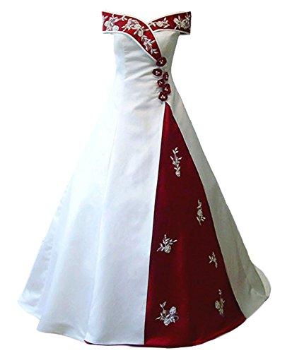 Snowskite Women's Off Shoulder Satin Embroidery Beaded Wedding Dress White&Burgundy 8 (Apparel)